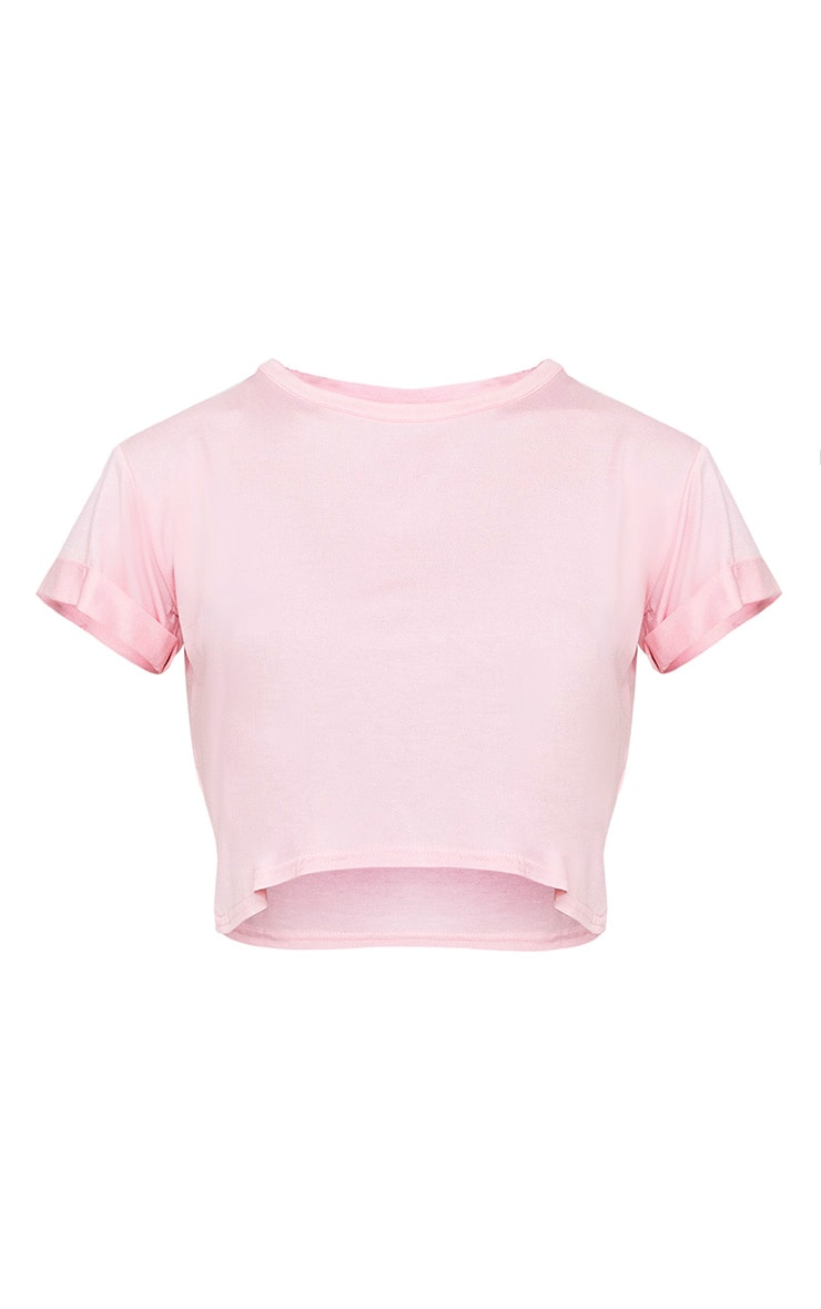 Basic Baby Pink Roll Sleeve Crop T Shirt 3