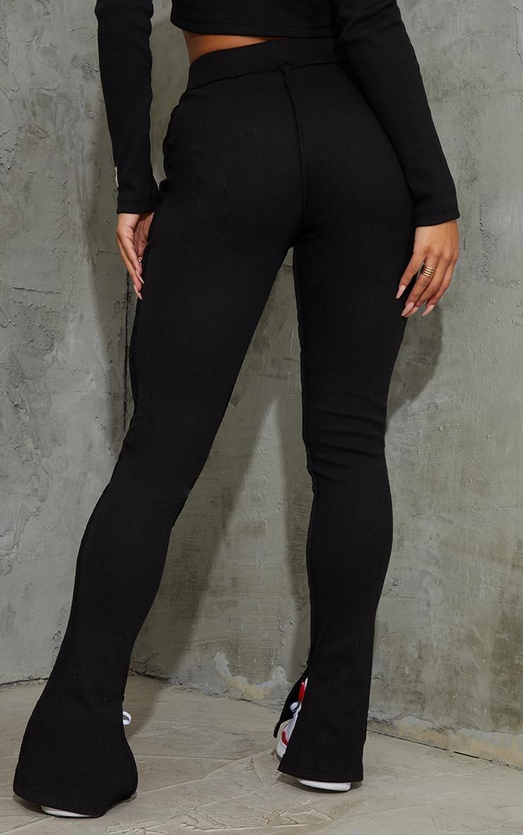 PRETTYLITTLETHING Black Badge Structured Rib Split Hem Flare Pants 3