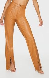 Tan Faux Leather Croc Split Hem Skinny Trousers 2