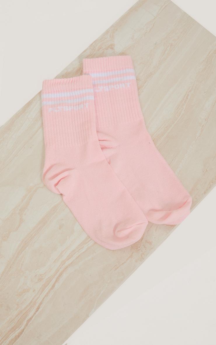 PRETTYLITTLETHING Baby Pink Sports Socks 3