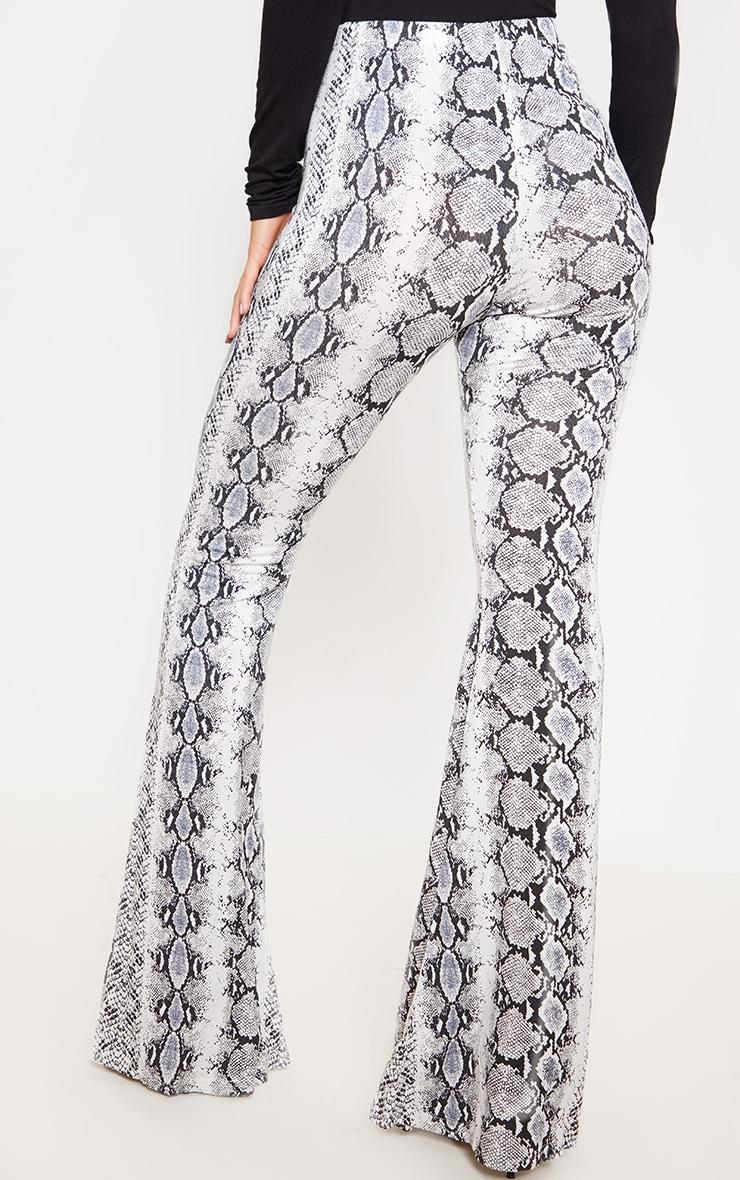 Black Snake Print Flare Leg Pants 4