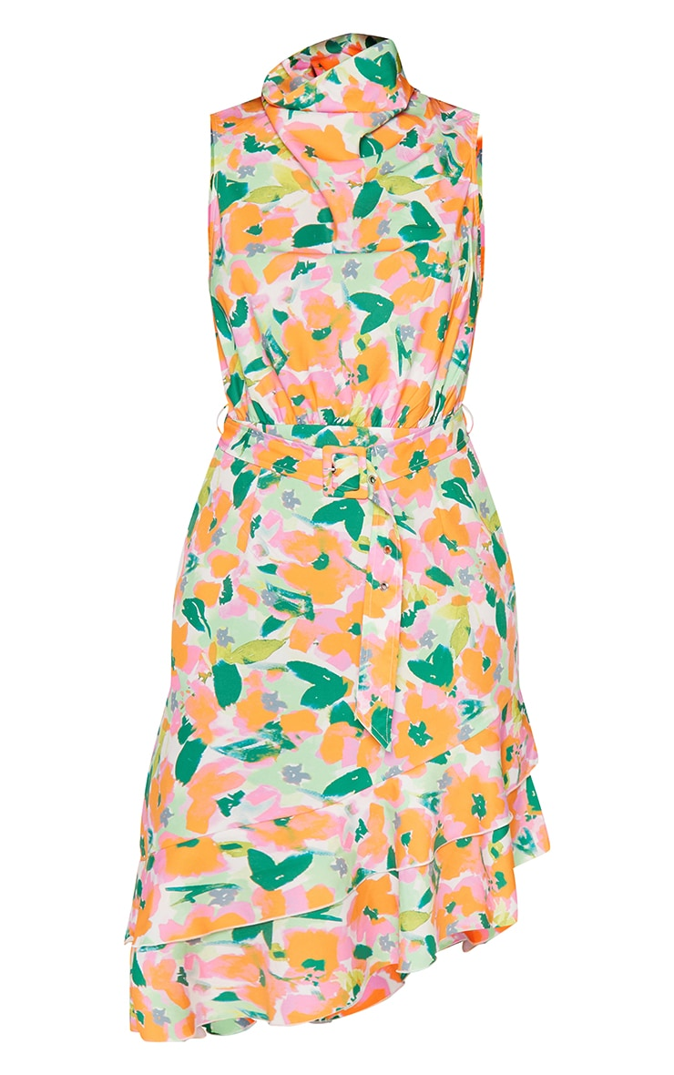 Green Floral Belted Asymmetric Frill Hem Midi Dress 5