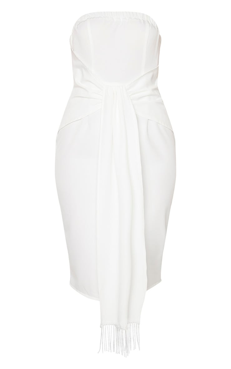 White Jewelled Tassel Bandeau Drape Midi Dress 3