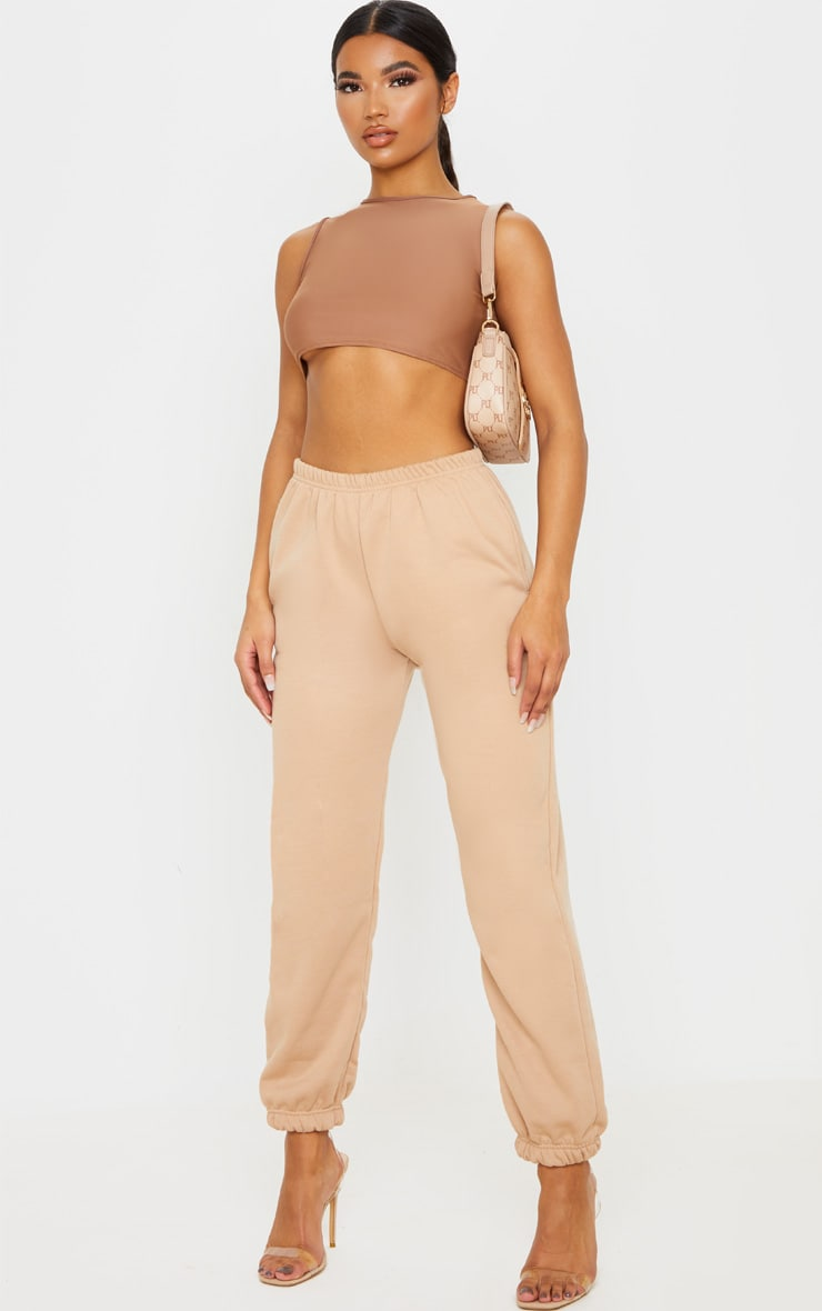 Mocha Stretch Slinky High Neck Crop Top 4