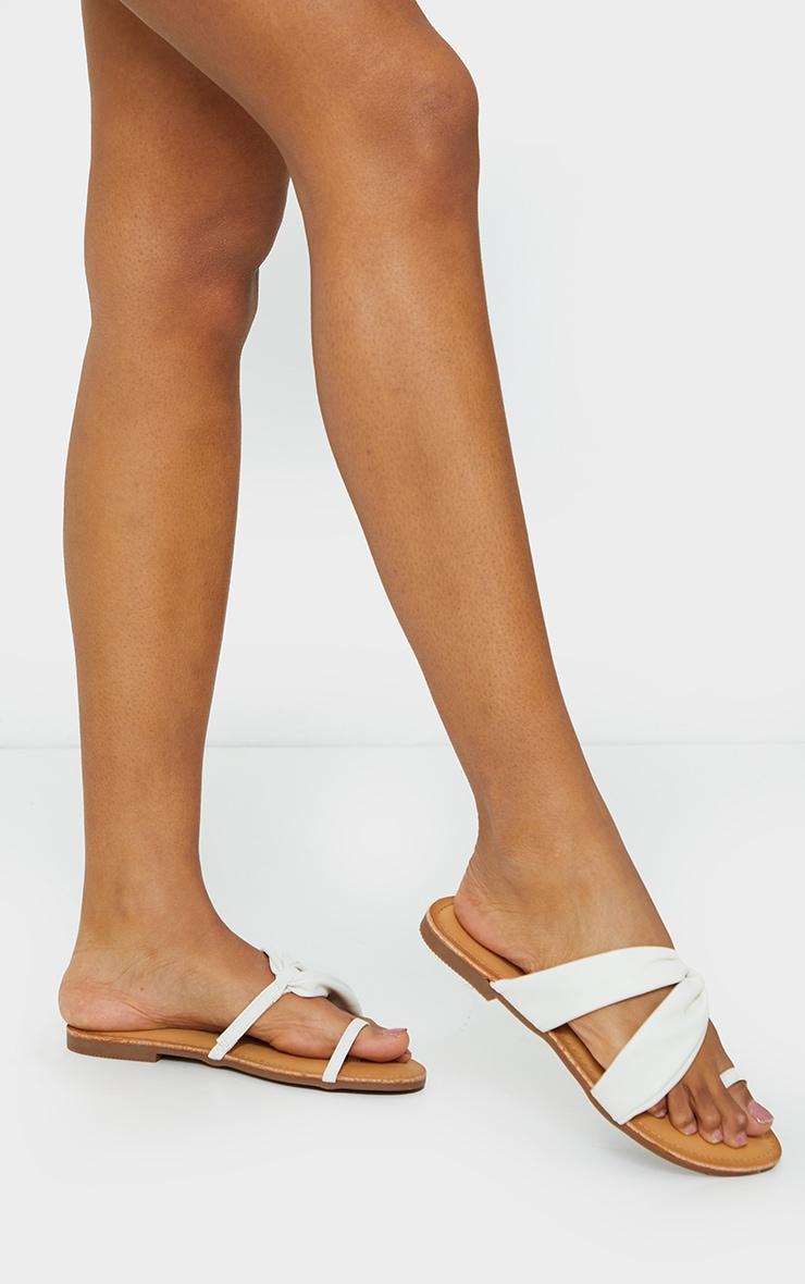White PU Toe Loop Pull Over Detail Flat Mule Sandals 1