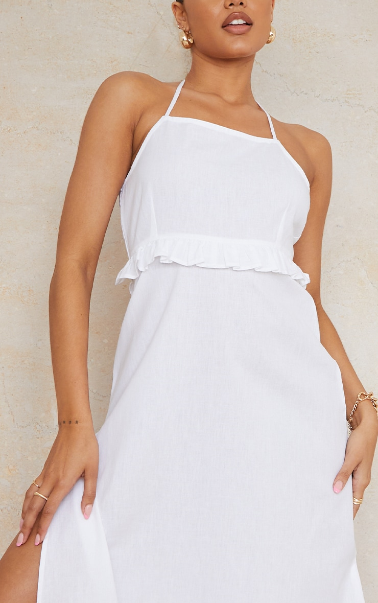White Linen Underbust Frill Halterneck Maxi Dress 4