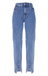 Mid Blue Wash Front Split Long Leg Straight Jeans 5