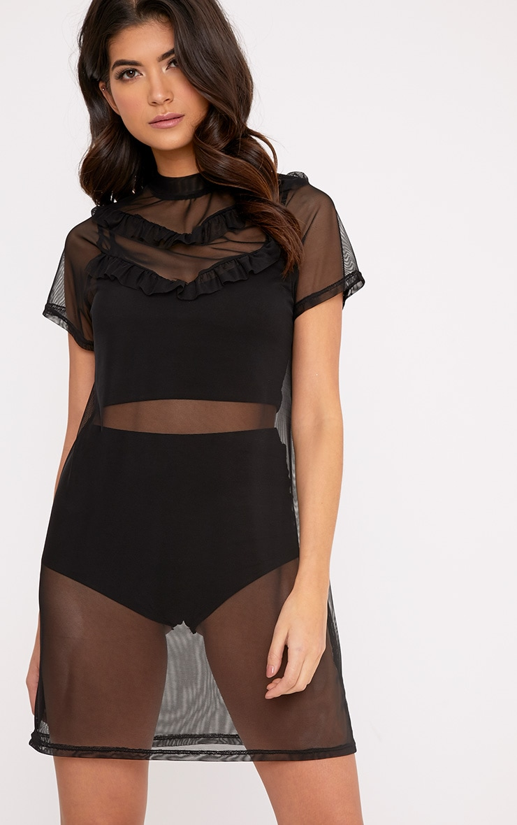 Betty Black Mesh Frill T Shirt Dress 1