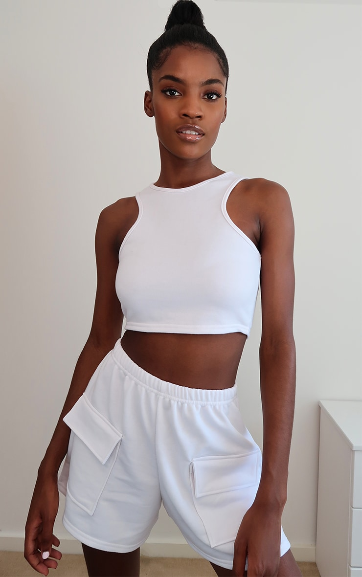 White Lightweight Zip Back Racer Crop Top 1