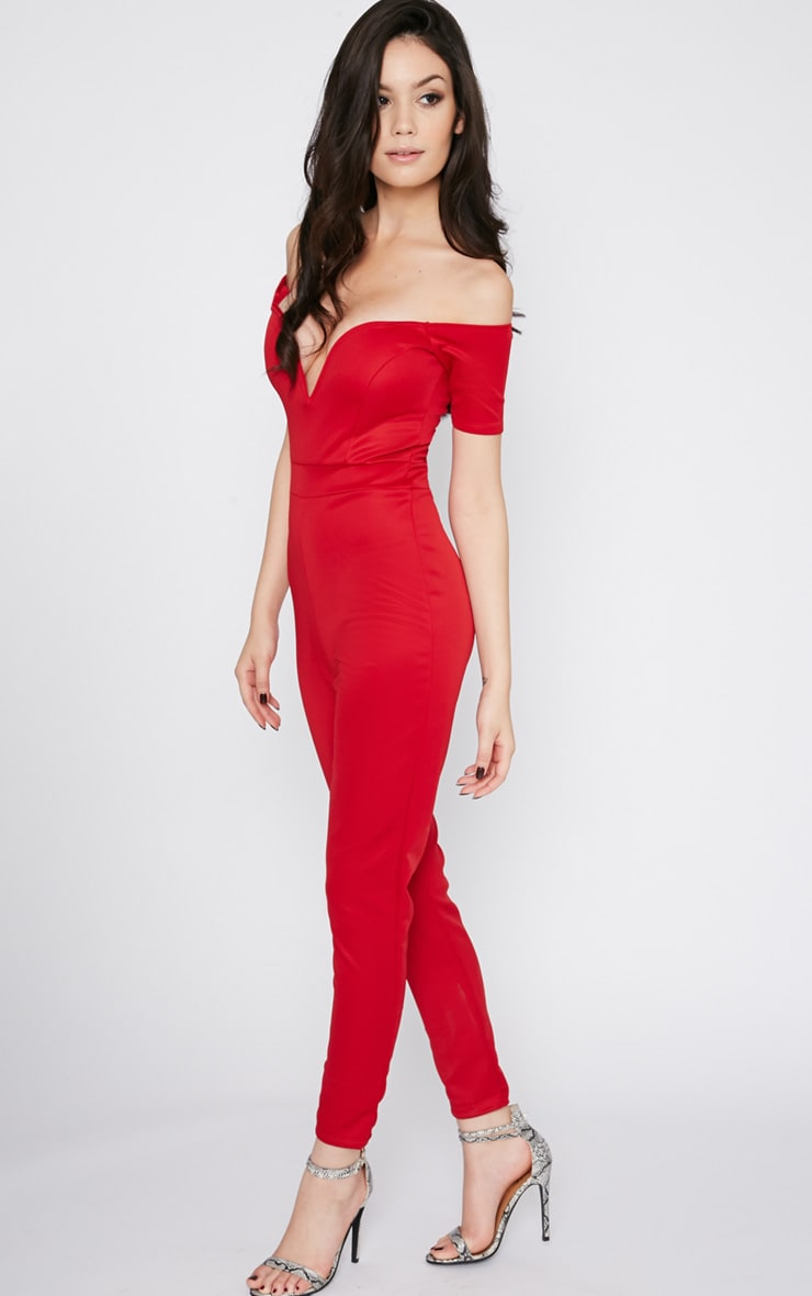 Azra Red Sweetheart Bardot Jumpsuit 5
