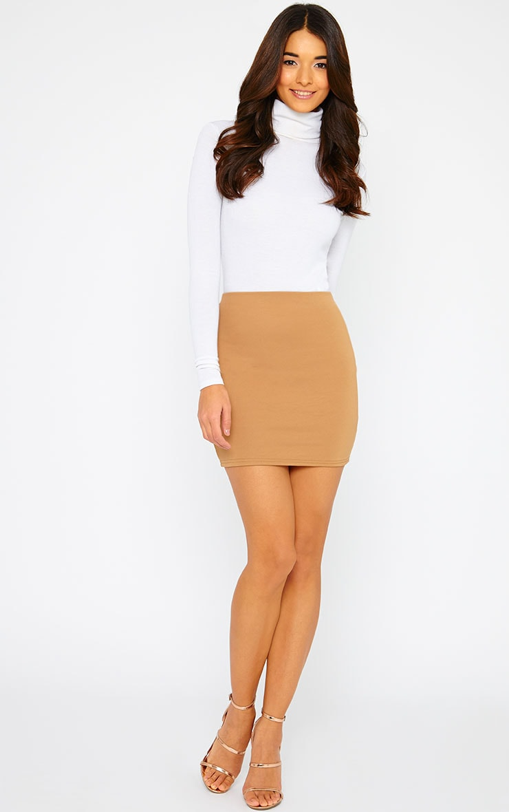 Basic Camel Scuba Mini Skirt 5