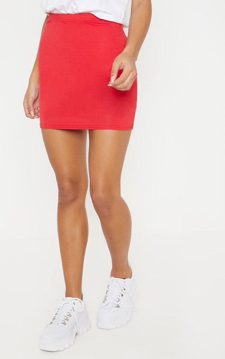 Basic Red Jersey Mini Skirt 2