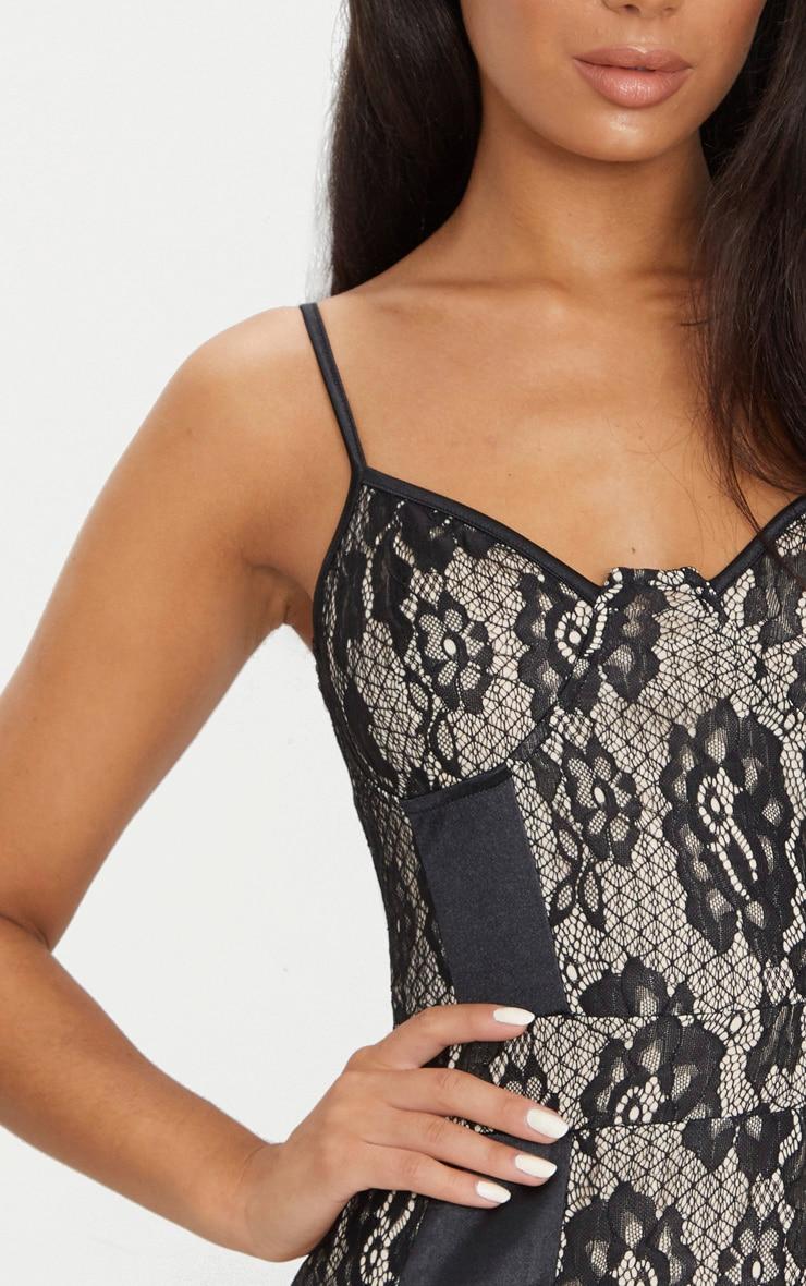 Black Lace Strappy Satin Panel Bodycon Dress 5