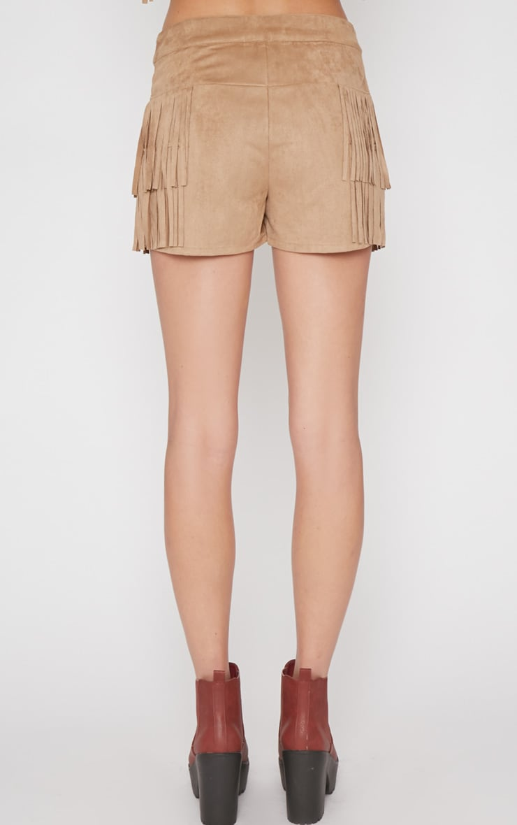 Elina Camel Fringed Short  2