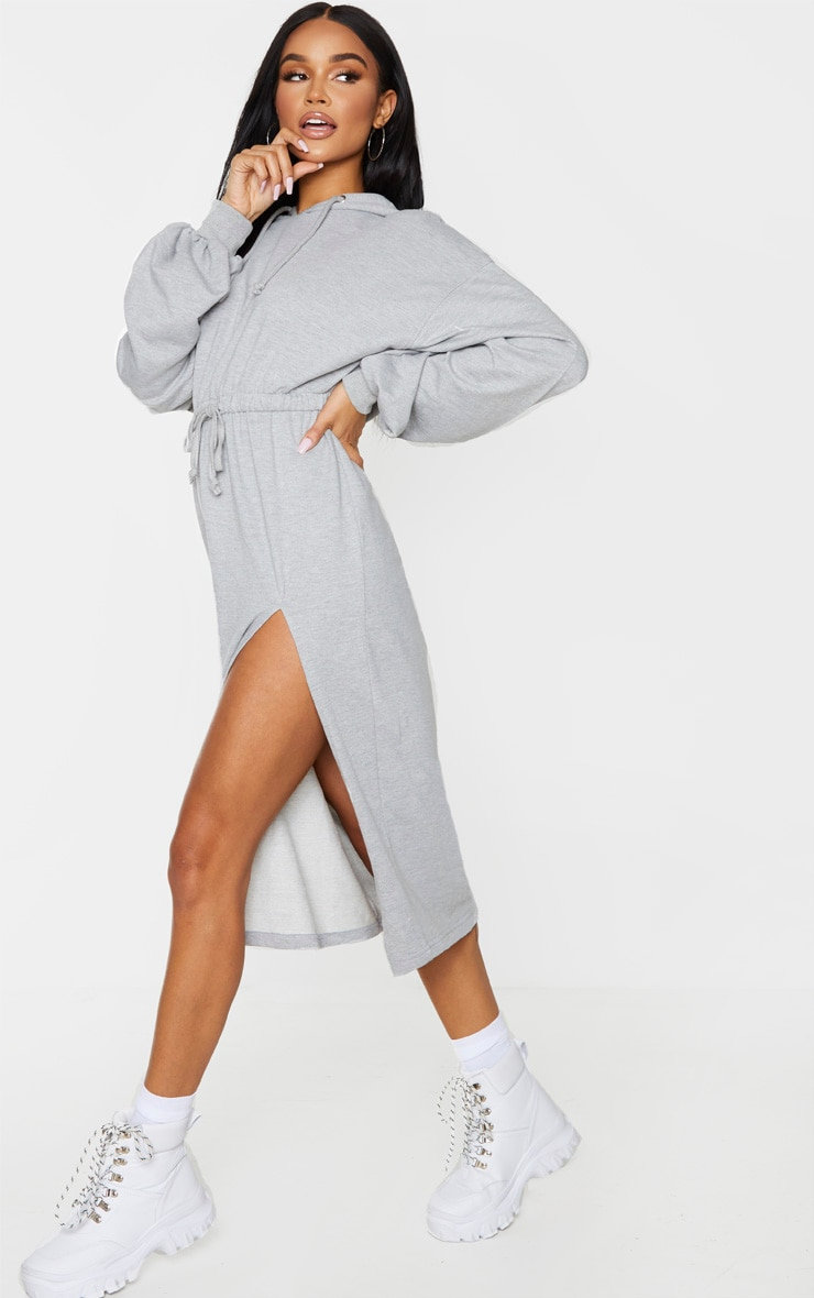 Grey Sweat Hoodie Split Midi Dress 2