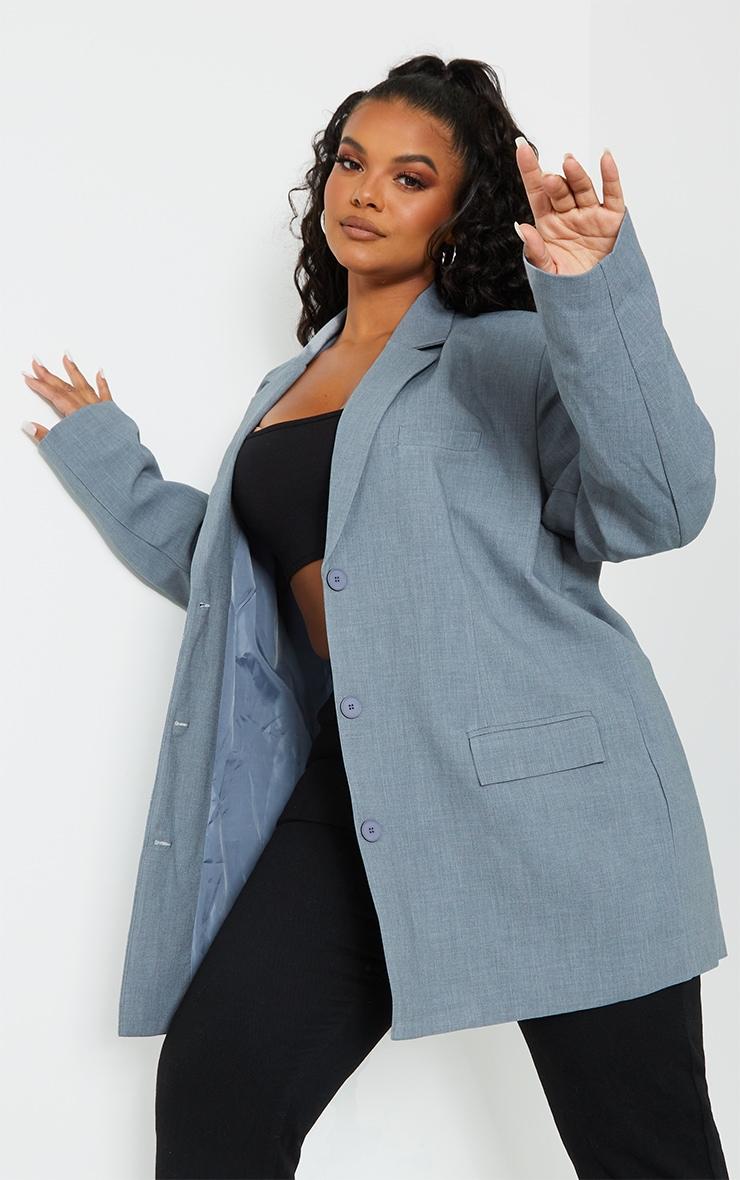Plus Grey Woven Linen Pocket Detail Triple Button Shoulder Padded Blazer 3