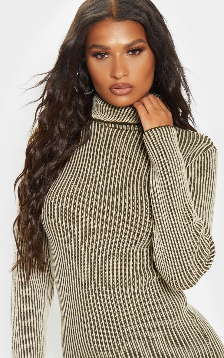 Khaki Two Tone Knitted Dress 5