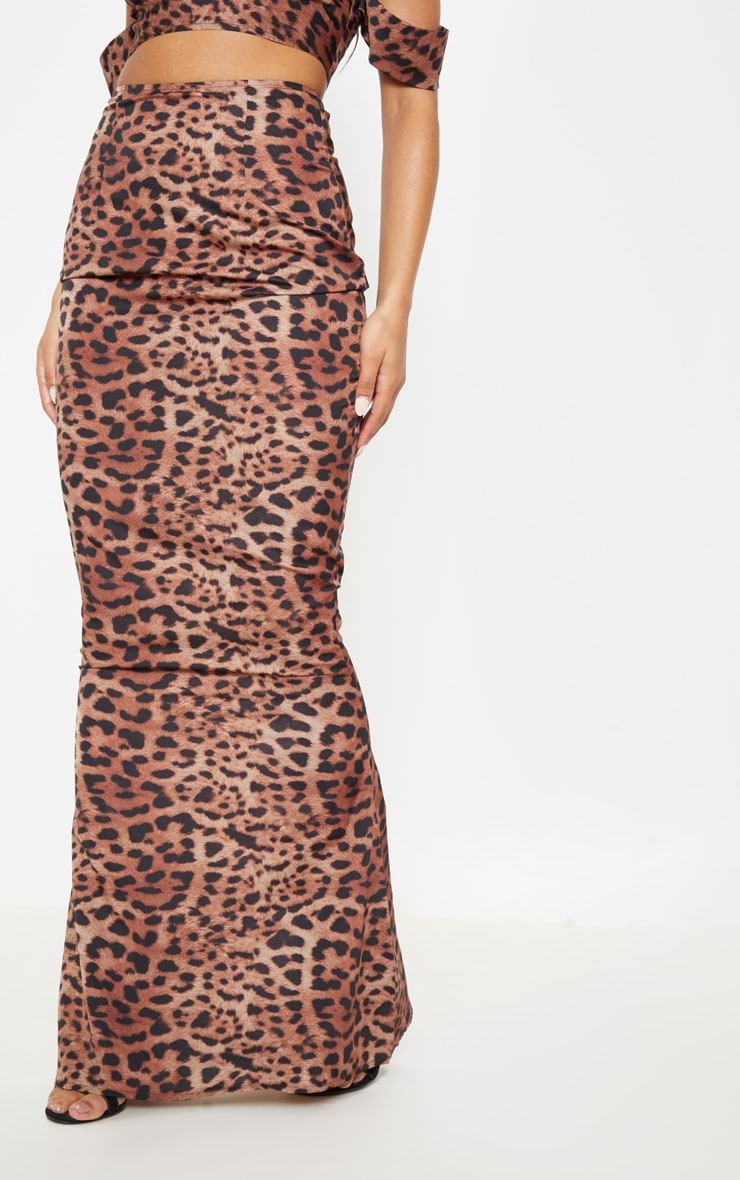Tan Satin Leopard Print Maxi Skirt 2