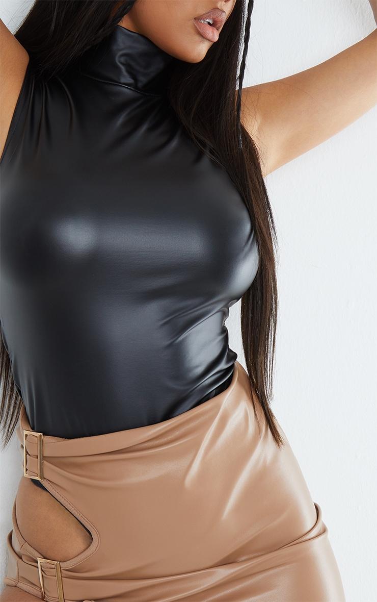 Black Wet Look High Neck Bodysuit 4