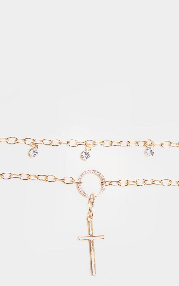 Gold Diamante Drop Choker Cross Drop Necklace    4
