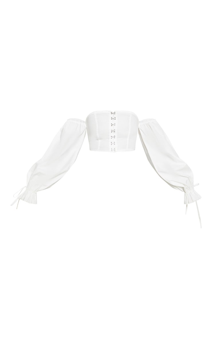 White Bardot Woven Hook And Eye Long Sleeve Crop Top 3