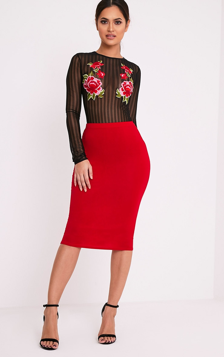 Basic Red Jersey Midi Skirt 6