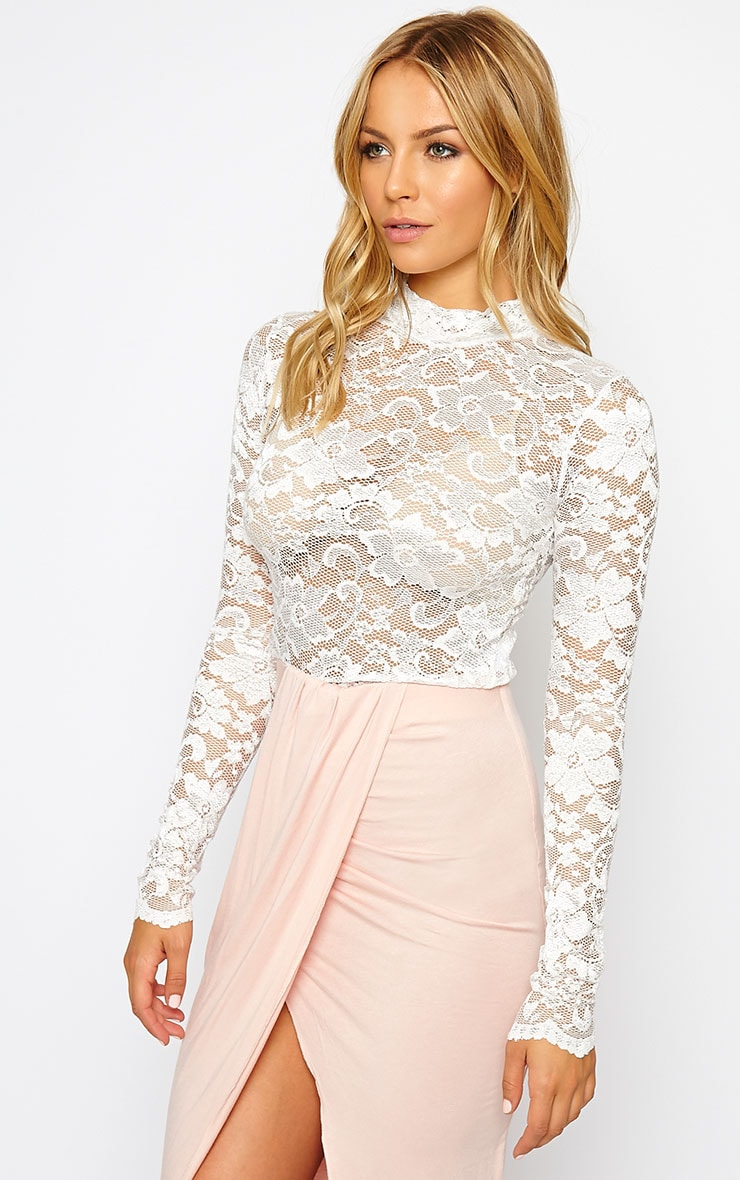 Carine White High Neck Lace Crop Top 4