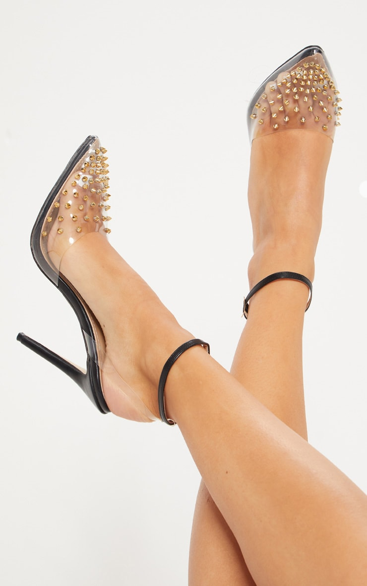 Black Studded Clear Court Shoes 1