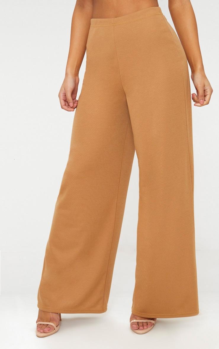 Camel Sweat Wide Leg Trousers  2