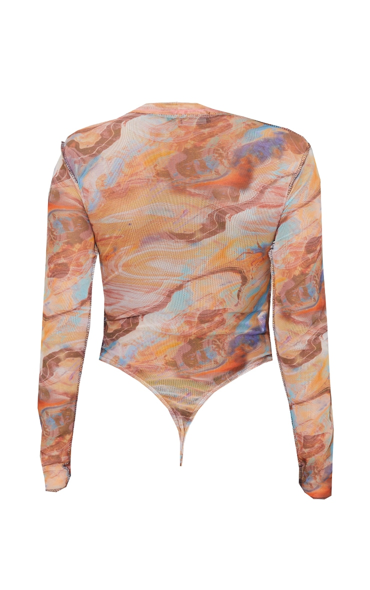 Light Brown Marble Printed Mesh Contrast Stitch Long Sleeve Bodysuit 6