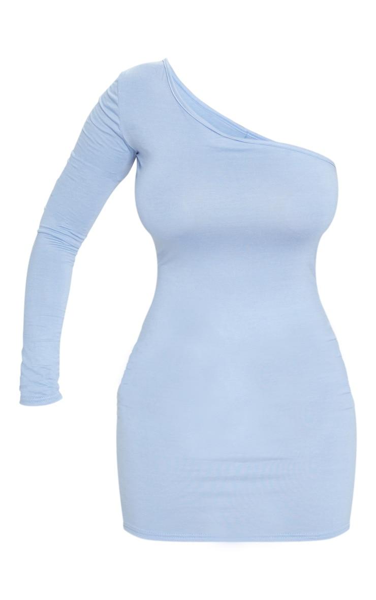 Blue One Shoulder Long Sleeve Bodycon Dress 6