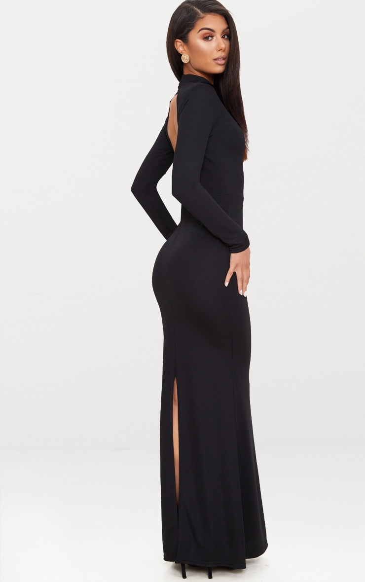 Black High Neck Open Back Maxi Dress 1