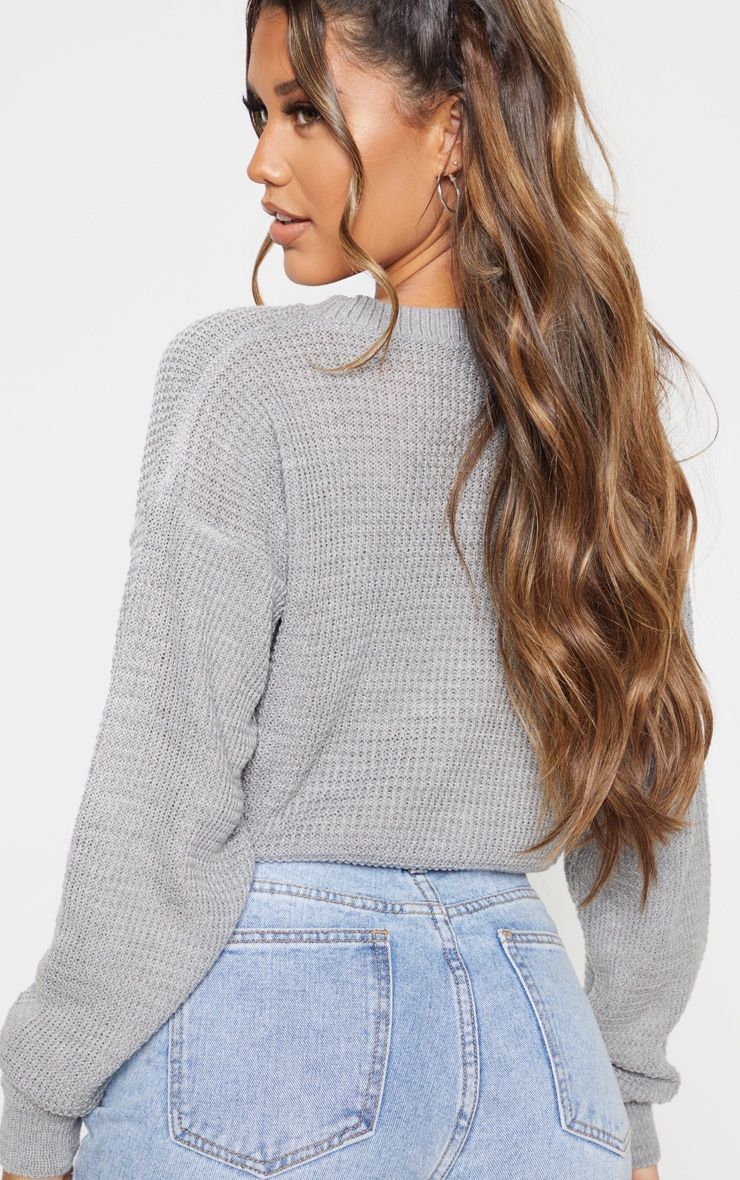 Grey Fisherman Knitted Cropped Jumper 2