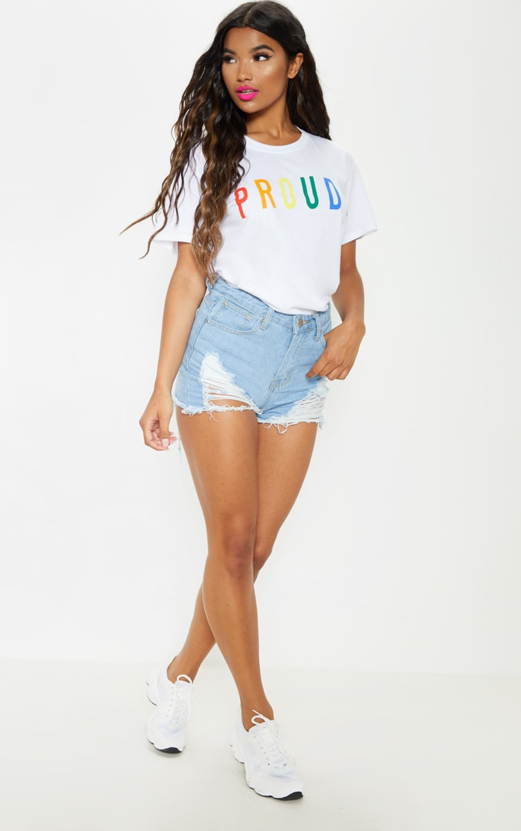 UNISEX White PROUD Oversized T-shirt  5