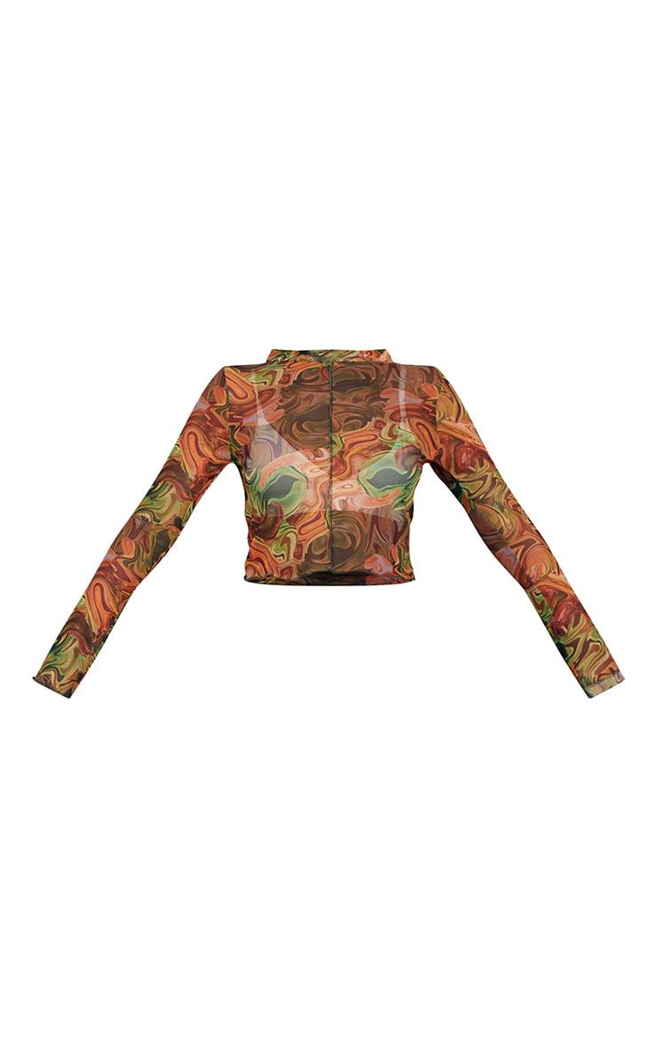 Orange Swirl Mesh Print Long Sleeve Crop Top 5