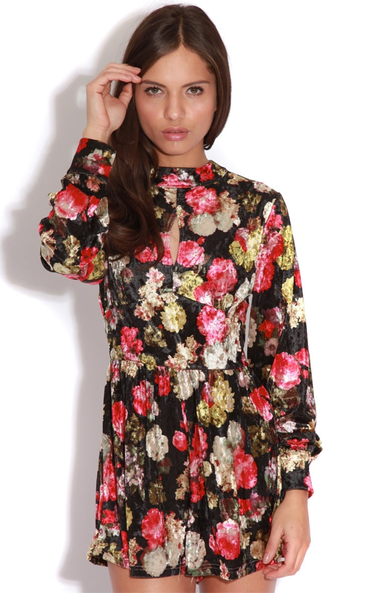 Zoe Dark Floral Velvet Playsuit 1