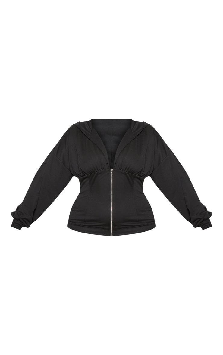 Plus Black Ruched Zip Hoodie 3