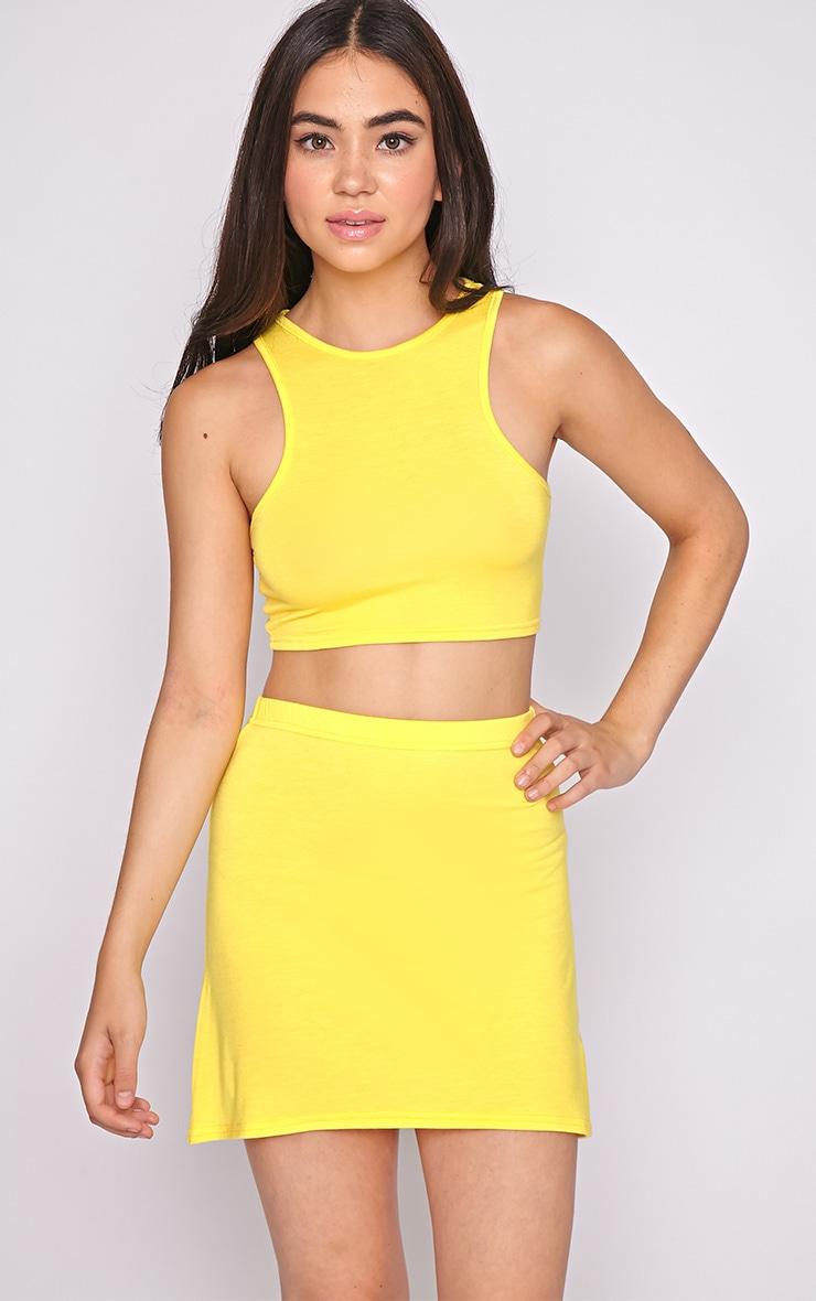 Erika Yellow A Line Mini Skirt  1