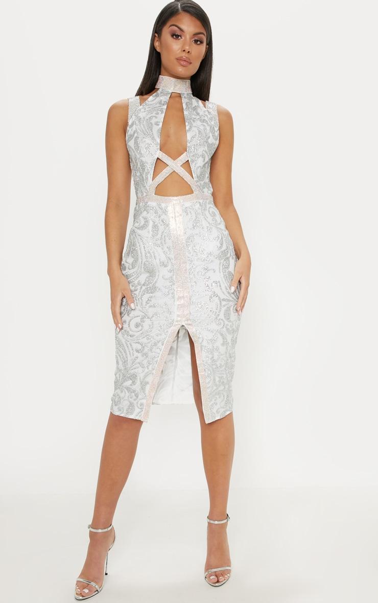Silver Embellished Insert Glitter Midi Dress 1