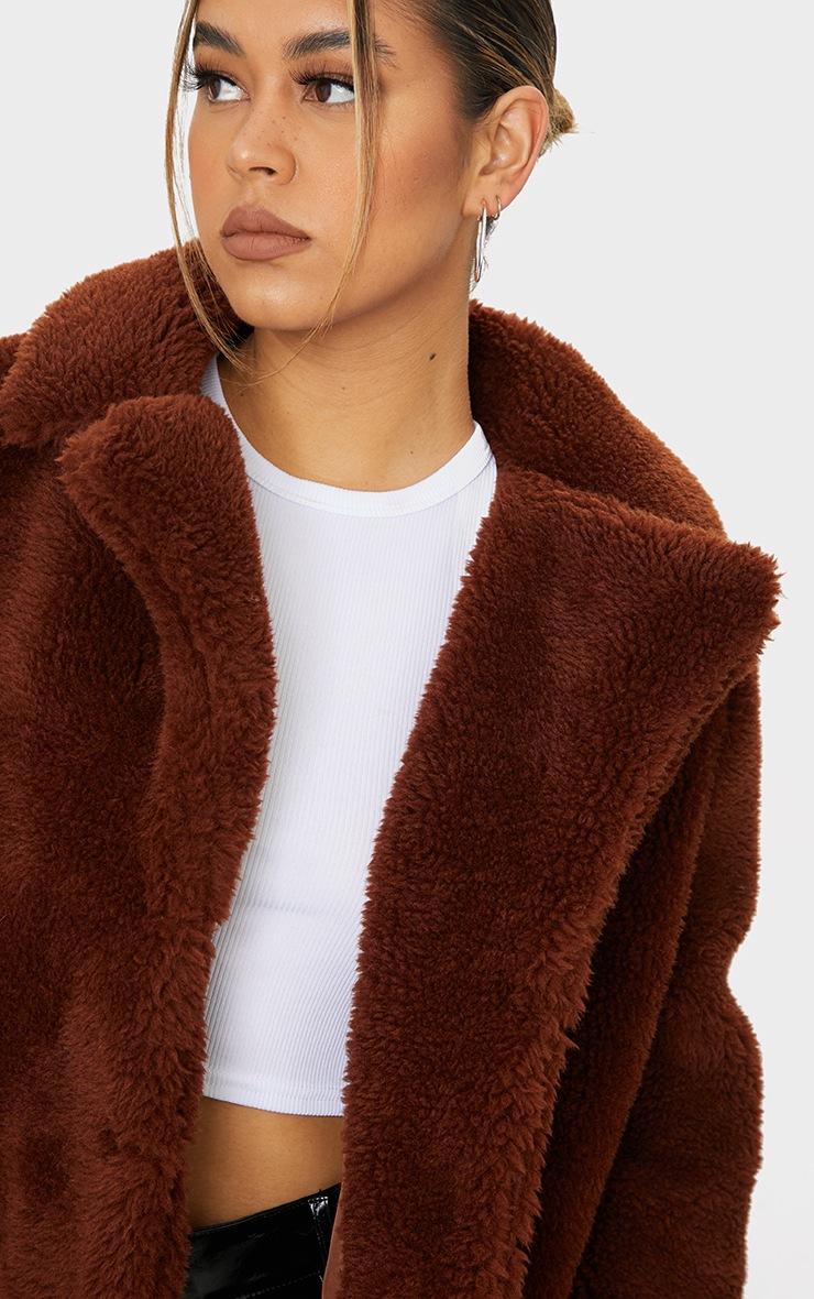 Brown Faux Fur Popper Button Down Jacket 4