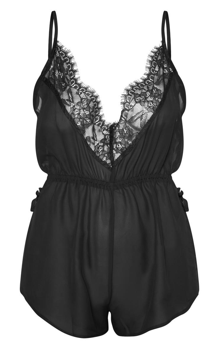 Pyjashort en mousseline de soie noir 3