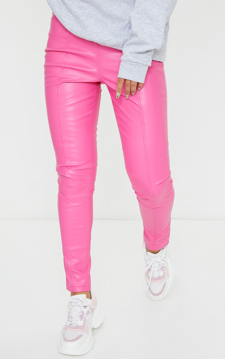 Hot Pink Faux Leather Stretch Leggings 2