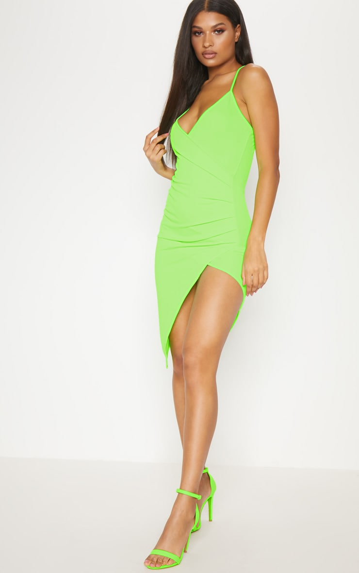 Neon Green Wrap Front Crepe Midi Dress  4