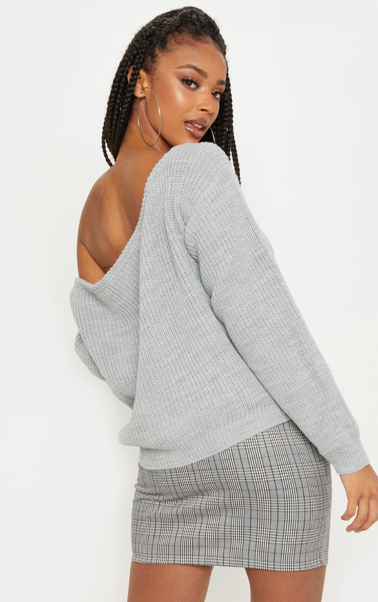 Grey Off The Shoulder Knitted Jumper 2