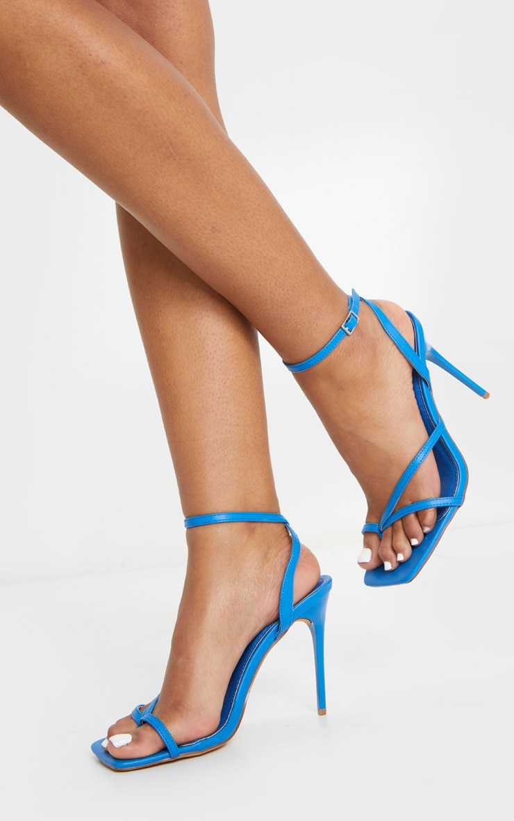 Blue PU Square Toe Strappy High Heeled Sandals 1