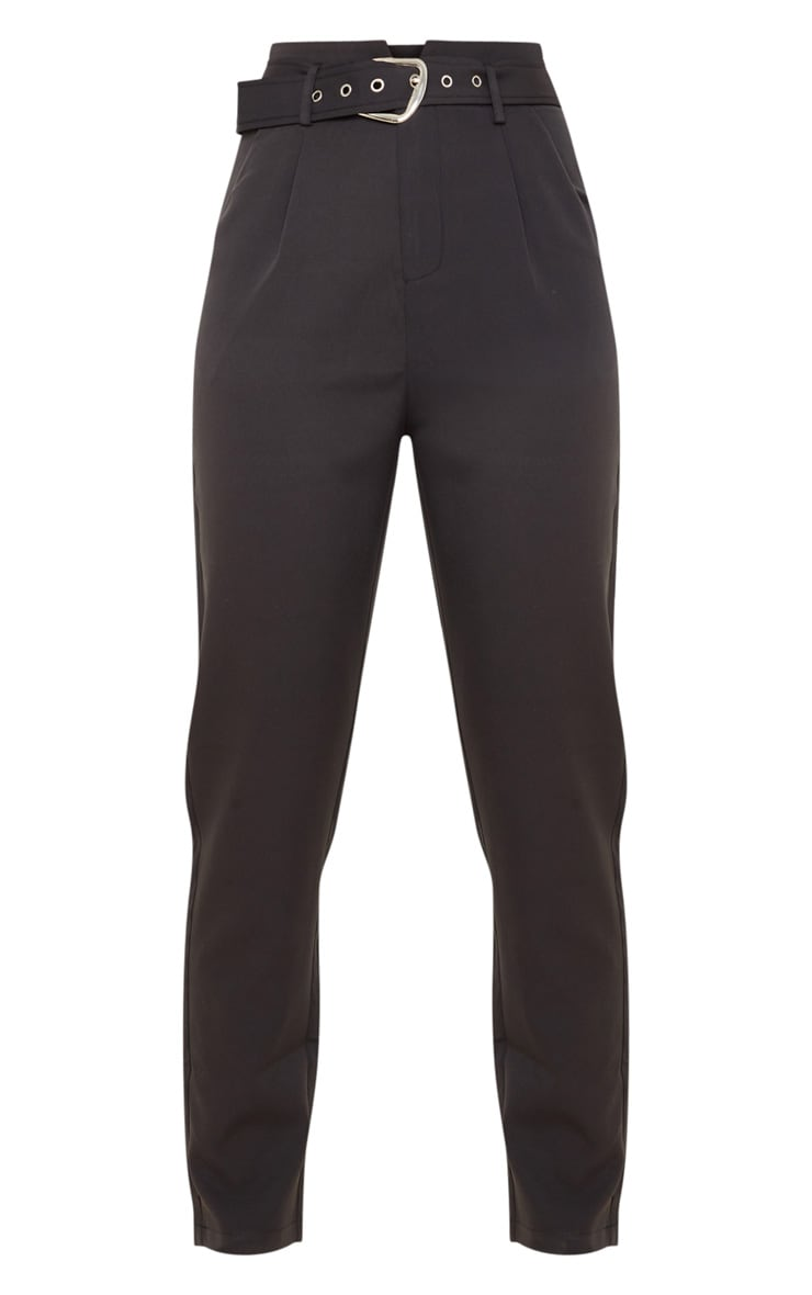 Black Belted Tapered Leg Pants 3