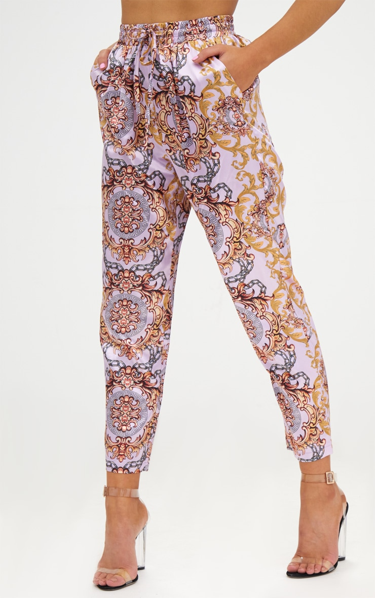 Petite Pink Printed Casual Trousers 2