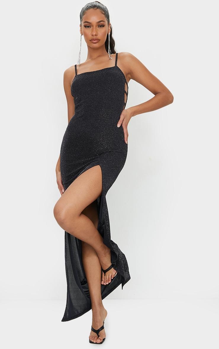 Black Textured Glitter Split Maxi Dress 1