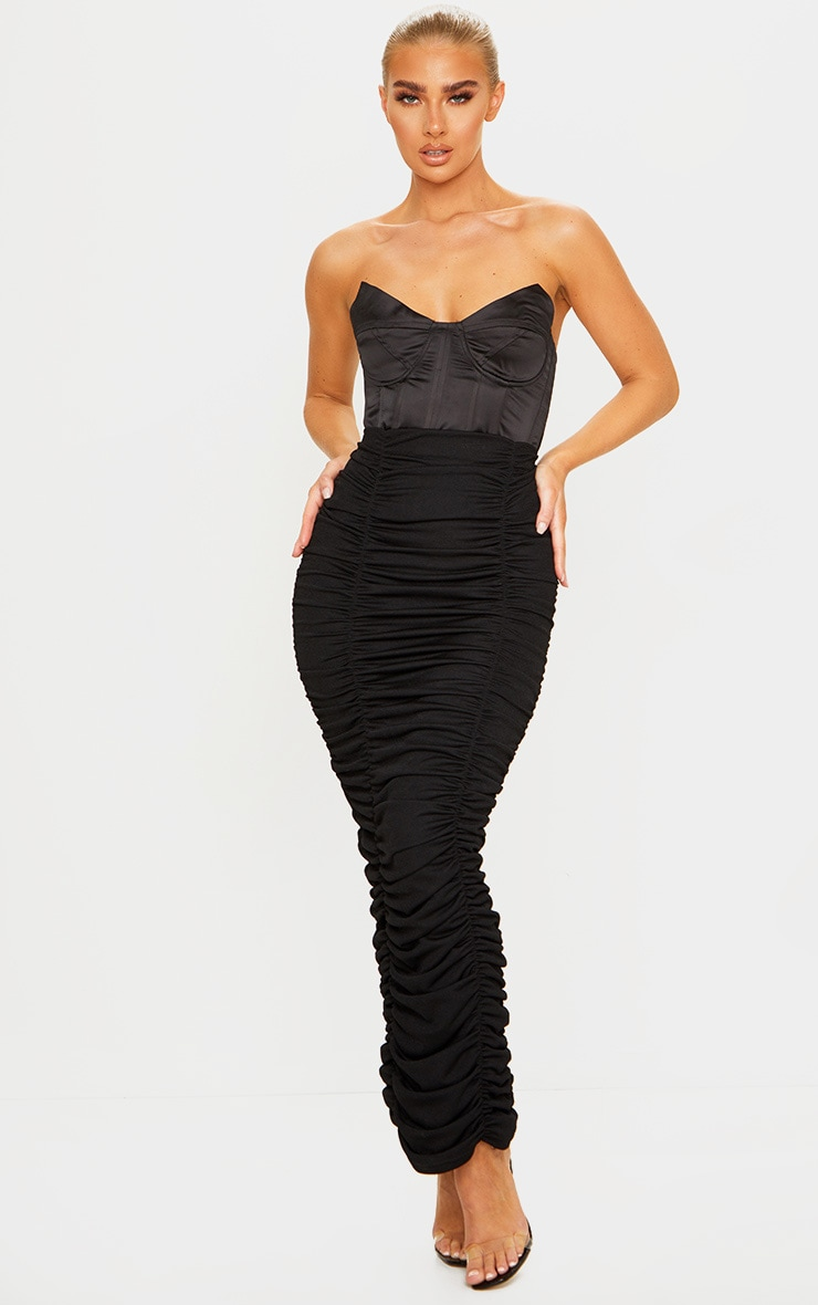 Black Ruched Maxi Skirt 1
