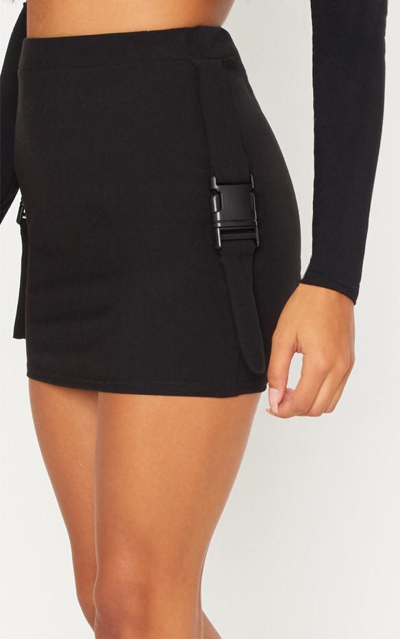 Black Buckle Detail Mini Skirt 6